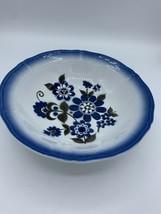 Classic Vintage Mikasa Terra Stone Groton 7147 Japan Blue Flowers - $10.11