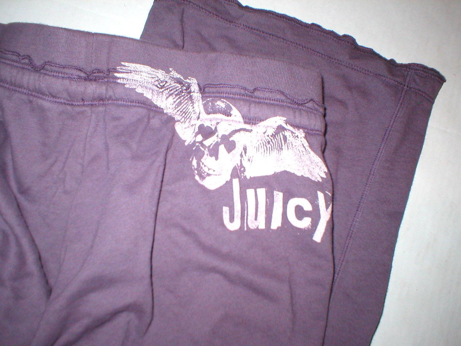 EUC Womens Large Juicy Couture Pants Purple L Pockets Skull Wings Logo 32 inseam