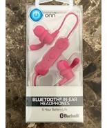 ONN BLUETOOTH IN-EAR HEADPHONES (Pink) Built-in Microphone Hands-Free New - $9.89