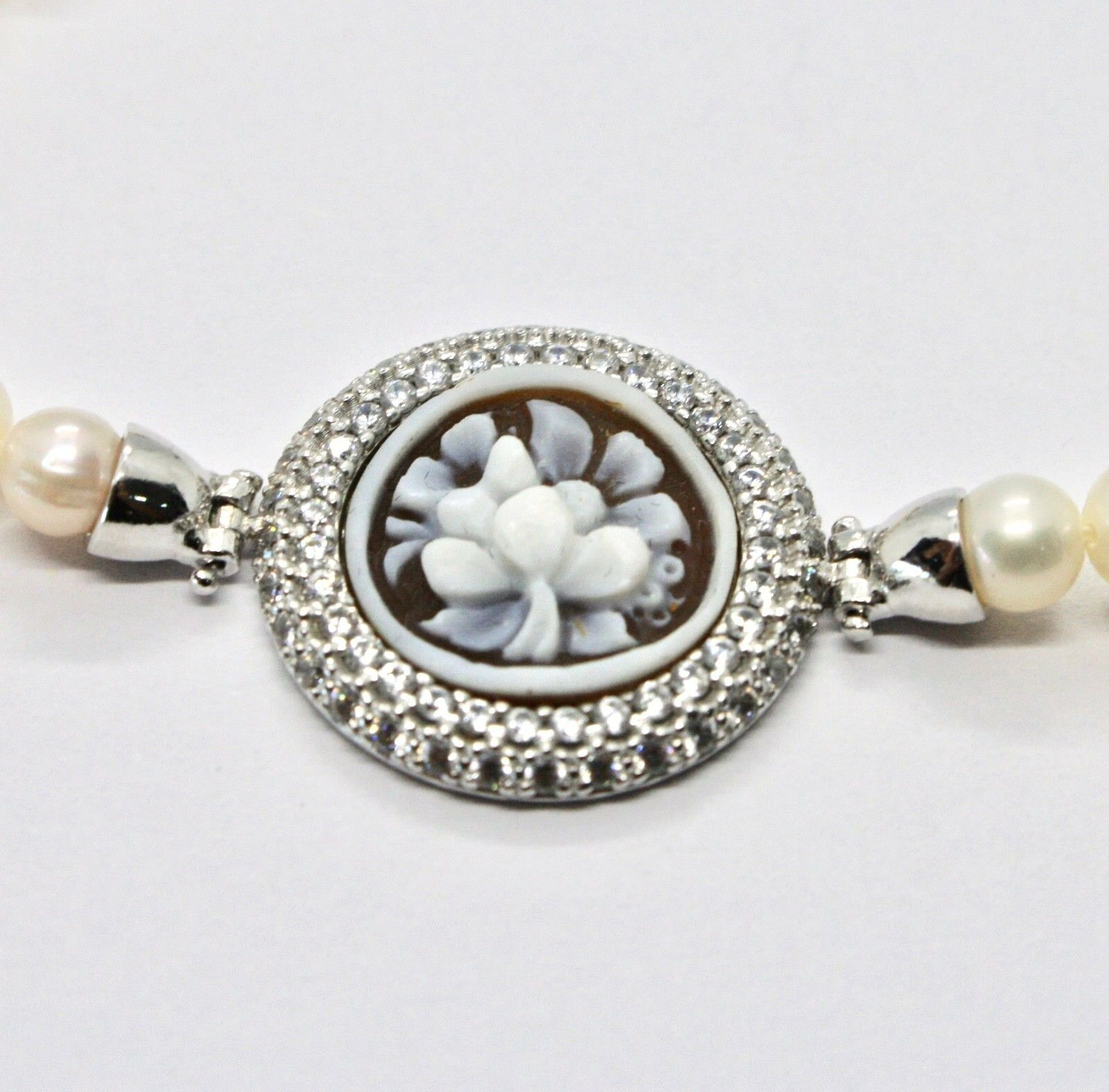 SILVER 925 BRACELET WITH PEARLS FRESH WATER CAMEO CAMEO ZIRCON CUBIC