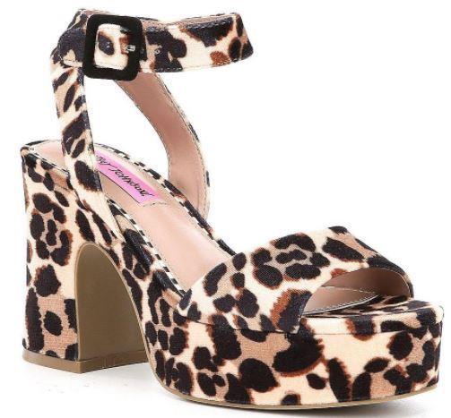 Betsey Johnson CLAUDE Leopard Ankle Strap Block Heel Platform Sandals Womens NEW