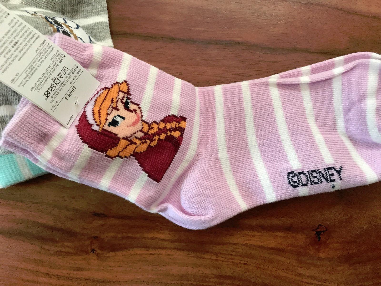 GAP Kids Girls Socks Shoe Sz 3-4 Pack of 3 Disney Frozen Gray Striped Half Crew