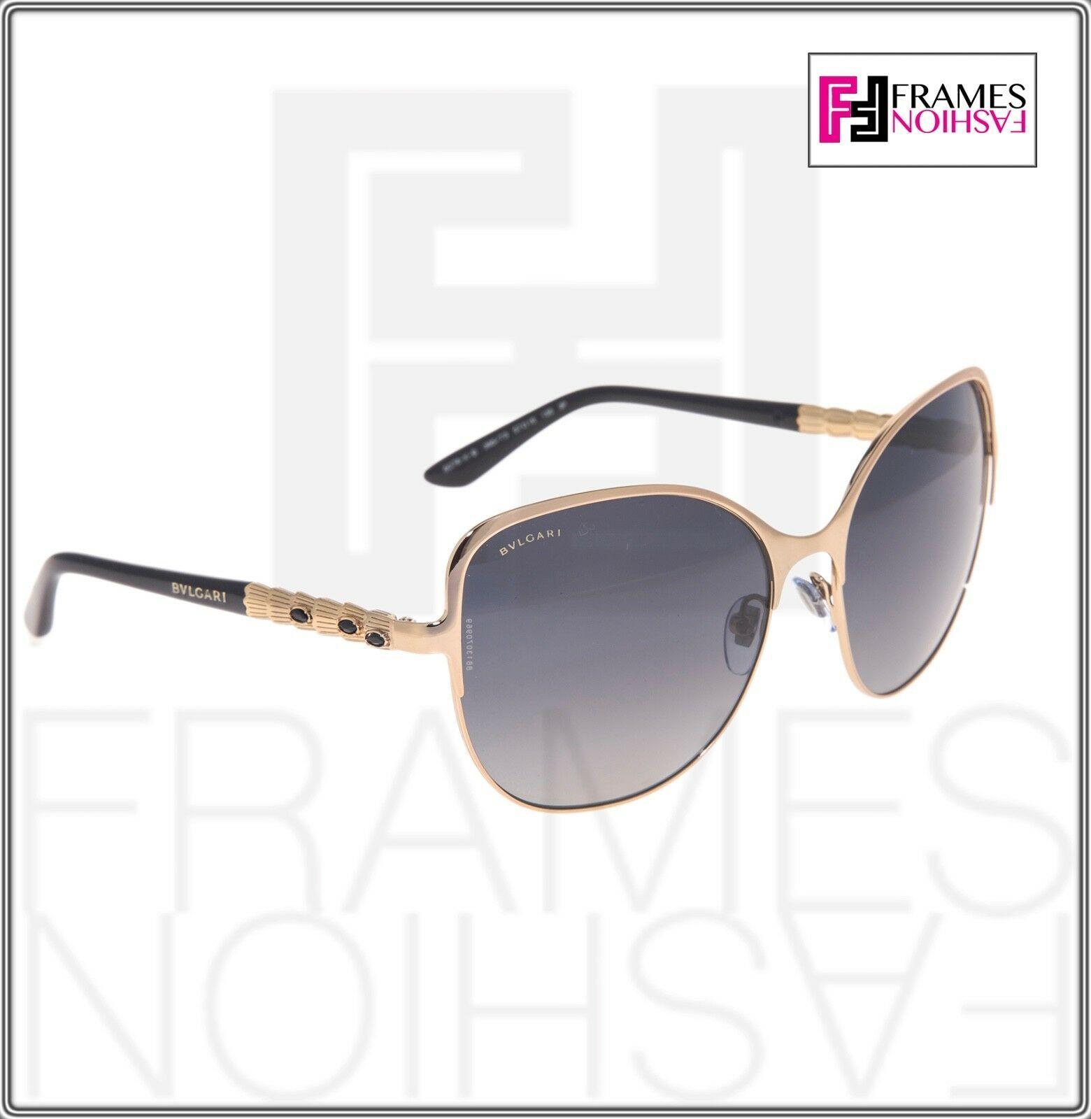BVLGARI Le Gemme BV6078KB Black Gold 18K Plated POLARIZED Sunglasses 6078 Women image 5