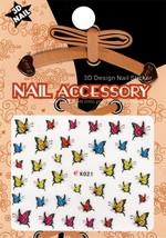 Nail art 3D decal stickers yellow red blue butterflies K021 - $3.09