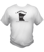 Minnesota Winter Survived Style Graphic T Shirt Black Red White L XL 2XL - $19.99