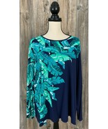 Lands' End Blouse Shirt Plus Size 3XL Blue With Leaf Print Nylon/Spandex... - $19.78