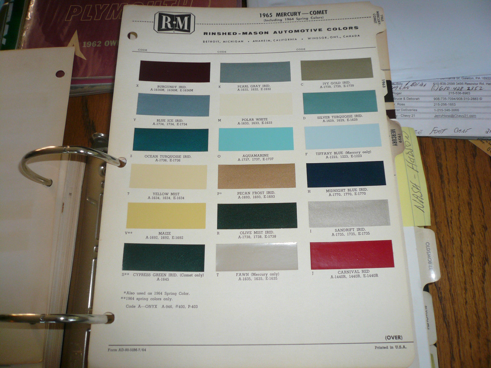 1965 Mercury Comet Including 64 Spring R M And 50 Similar Items 1964 Dodge Color Chips Chip Paint Sample Vintage