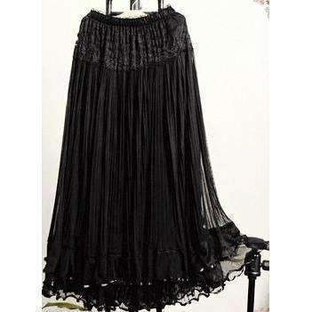 Lovely Ruffled Lace Women Long Skirt