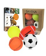 Savena Squeaky Dog Ball Bite Resistant Squeaker No Stuffing Dog Toy Asso... - $7.19
