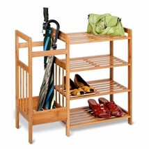 NEW Bamboo Brown Storage Rack Entryway Mud Room Hallway Shoes Organizer ... - $64.25