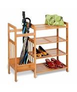 NEW Bamboo Brown Storage Rack Entryway Mud Room Hallway Shoes Organizer ... - $64.25