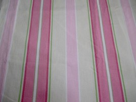Pair Pottery Barn Kids Pink Stripe Curtain Panels Lined Cream Green 44 x 96 - $53.45