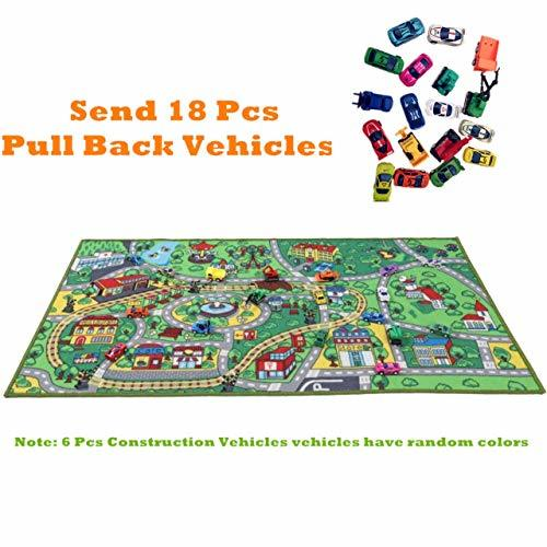 JACKSON Kid Rug Car Playmat With Roads And Train Tracks
