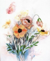 Bucilla Poppies Printed Counted Cross Stitch Kit 40089 12 x 16 Floral Vintage  - $21.24