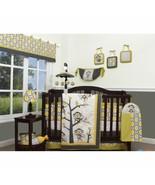 Yellow Gray White Monkey 13 pc Crib Bedding Set Baby Nursery Quilt Bumpe... - $139.49
