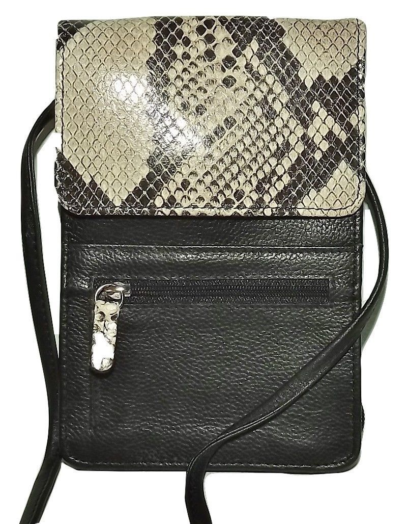 Primary image for NEW ITALIE LEATHER WOMEN'S SLIM CROSSBODY CREDIT CARD WALLET PYTHON/BLACK