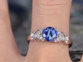 1.75 Ct Blue Sapphire & Diamond Solitaire Wedding Ring 14k White Gold Fi... - $82.30