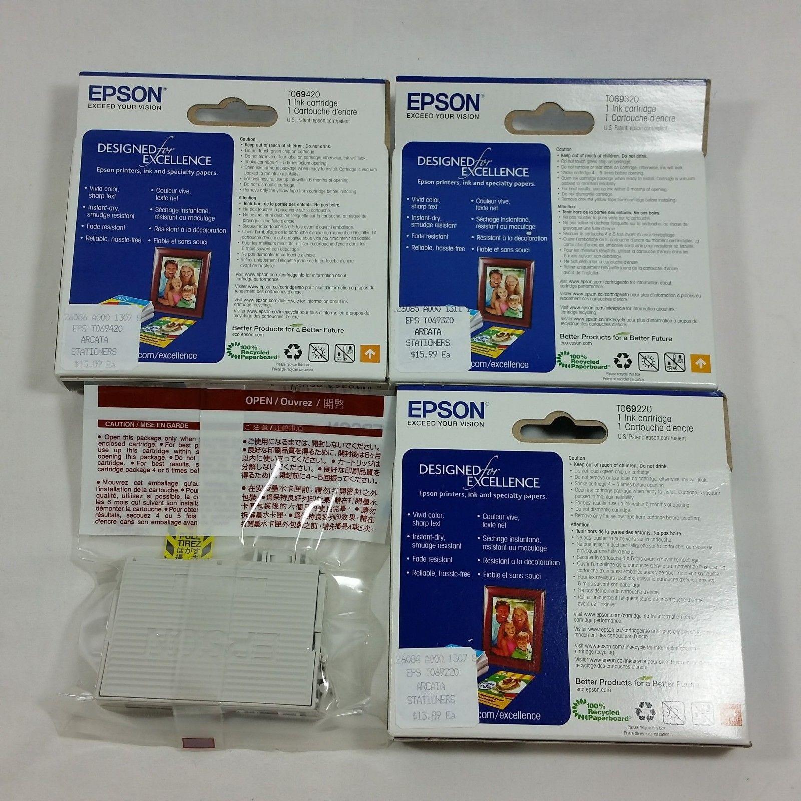 Epson 69 T069 Cyan Yellow Magenta Black Cartridges Lot of 4 Genuine OEM InkJet
