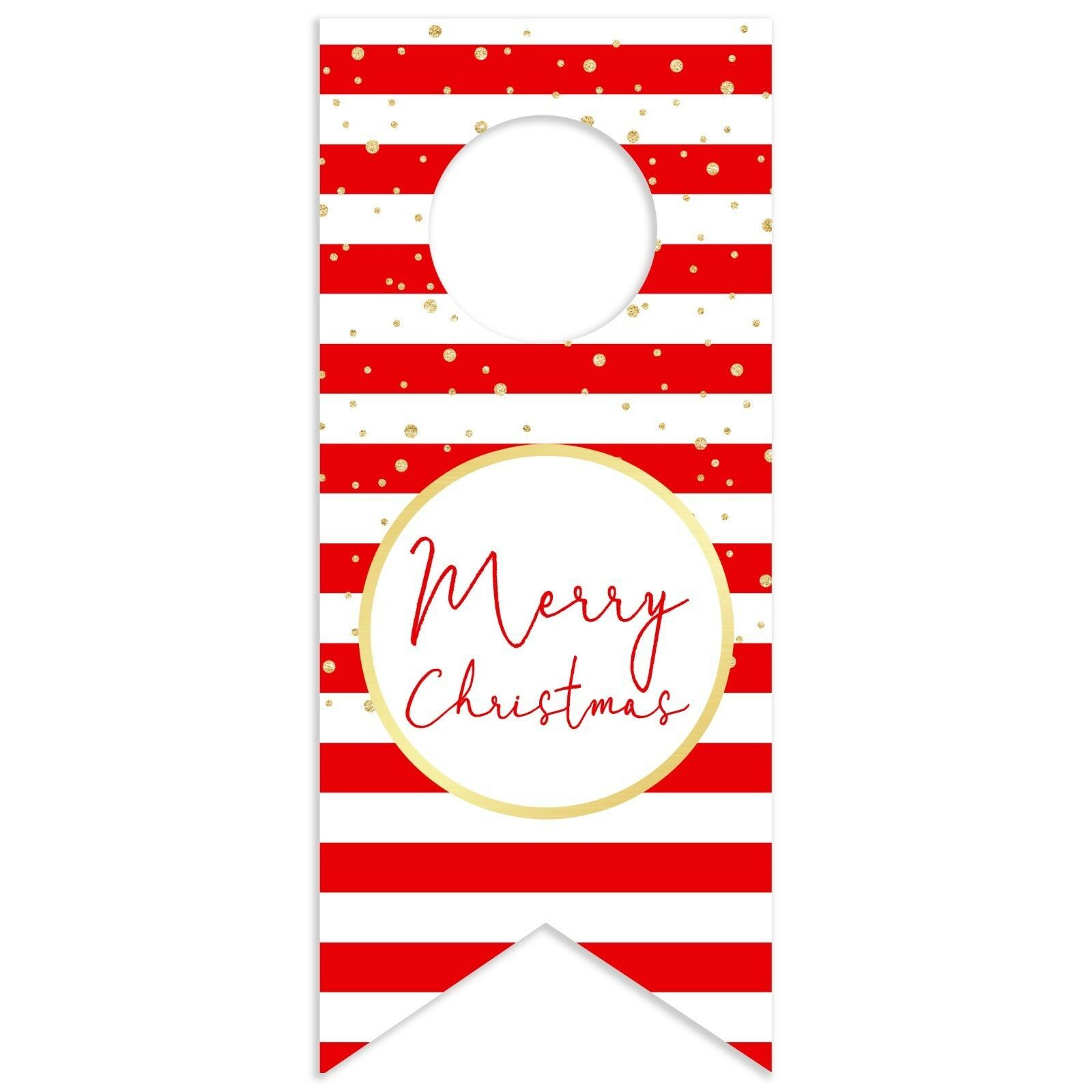 Red and White Stripes with Gold Merry Christmas Shower Water Bottle Hang Tag