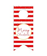 Red and White Stripes with Gold Merry Christmas Shower Water Bottle Hang... - $26.24