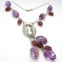 Necklace Silver 925, Fluorite Oval Faceted Purple, Pendant Bunch image 2