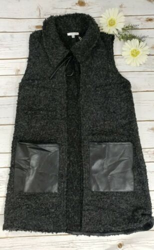 Black Vest With Faux Leather Pockets