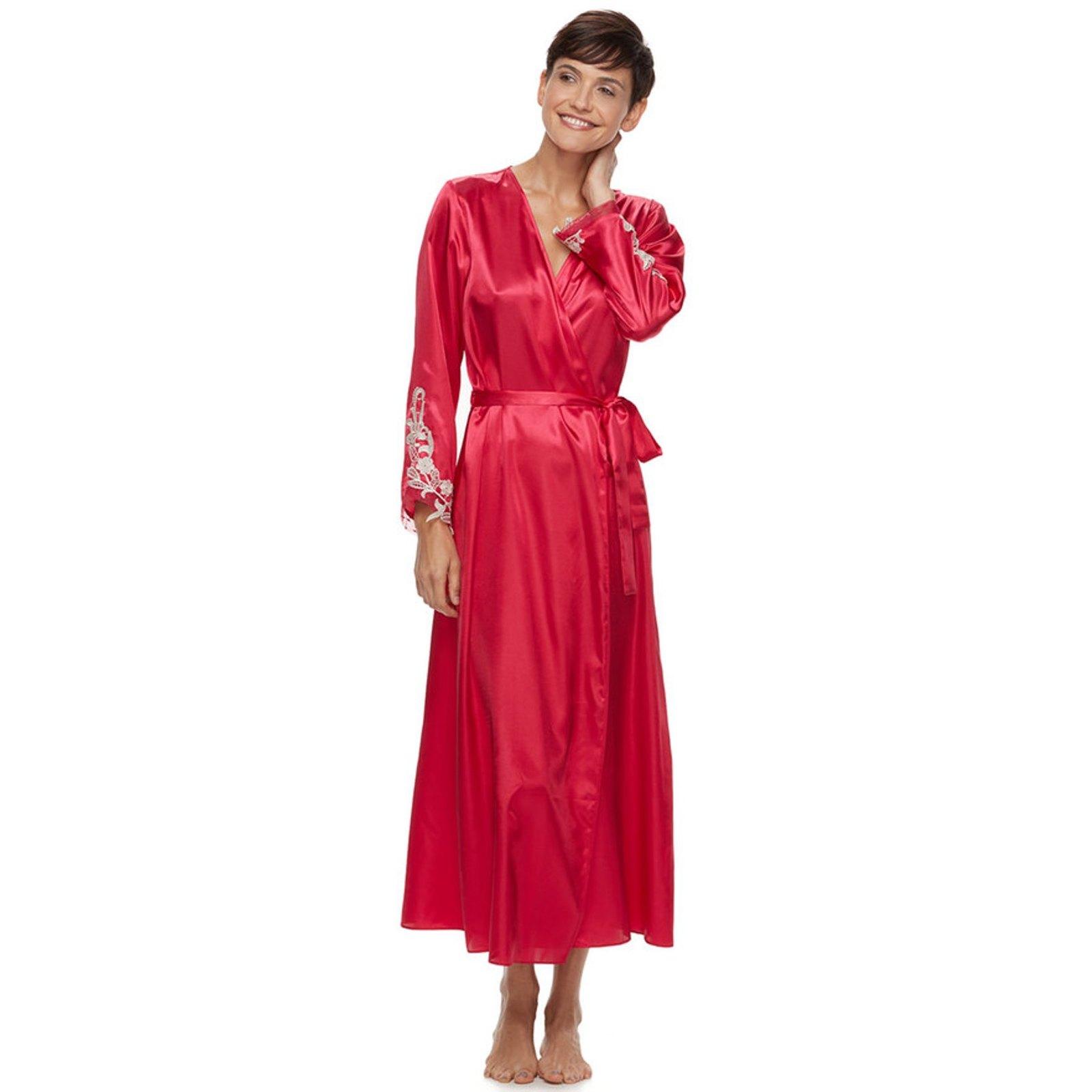 5480660a4d46 Flora Nikrooz Womens L Crimson Red Charmeuse Robe & Gown Sleepwear Set New  $126