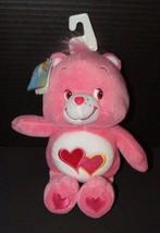 "Care Bears Love a Lot pink 2 hearts tummy plush w/ tags 10"" 2002 TCFC - $9.89"