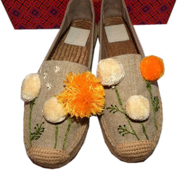 Tory Burch Natural Linen Lily Pompom Platform Espadrilles Flats Shoes 8.5
