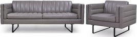 Moroni Orson 582 Grey Top Grain Leather Upholstery Sofa & Armchair Set 2Pcs