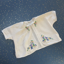 Vintage Baby Diaper Shirt Embroidered Bluebirds Cotton Flannel Tie Front... - $32.62