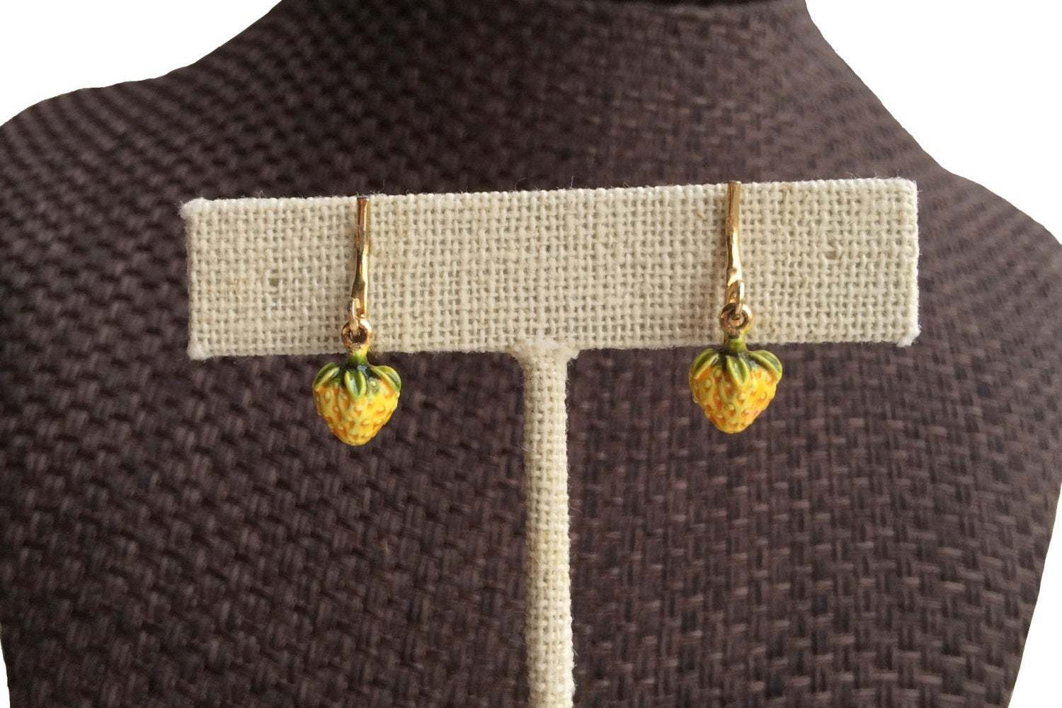 Vintage Earrings tiny teeny weeny little strawberry dangles yellow clip on, gift