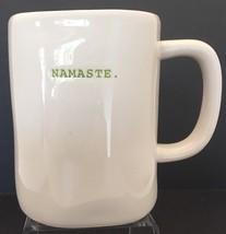 """Rae Dunn Artisan Collection by Magenta """"NAMASTE"""" Typeset Mug Green Interior - $12.86"""