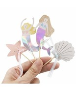 24pcs Mermaids Tail, Starfish & Shell Cupcake Toppers, Under The Sea Par... - $24.01
