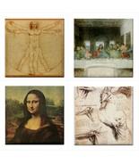 Leonardo Da Vinci Ceramic Tile Set Of 4 Art Decorative Coaster Backsplas... - $47.49