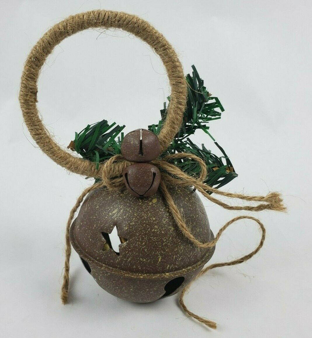 Primary image for Christmas Tree Ornament Large Bell Smaller Bells Sprig Woven Rope Ring Handmade