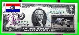 MONEY US $2 DOLLARS 1976 KANSAS CITY STAMP CANCEL STATE FLAG OF MISSOURI... - $149.94