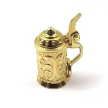 14k Yellow Gold Vintage Small 3D Beverage Pitcher Charm With Cover - $91.63