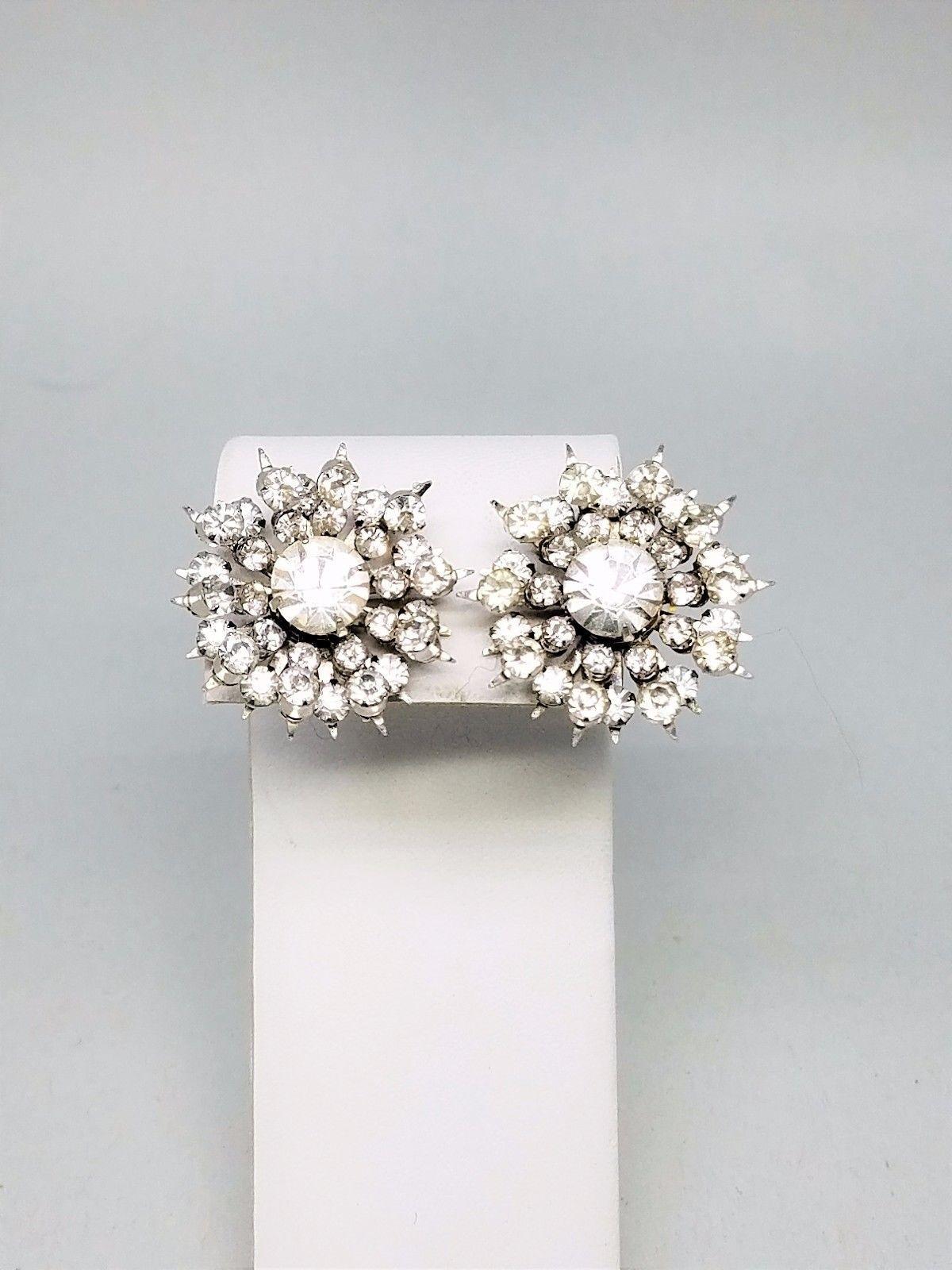 Coro Vintage Rhinestone Screw In Signed Earrings