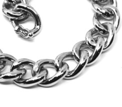 18K WHITE GOLD BRACELET BIG ONDULATE ROUNDED GOURMETTE CUBAN CURB LINKS 9.5 mm image 2