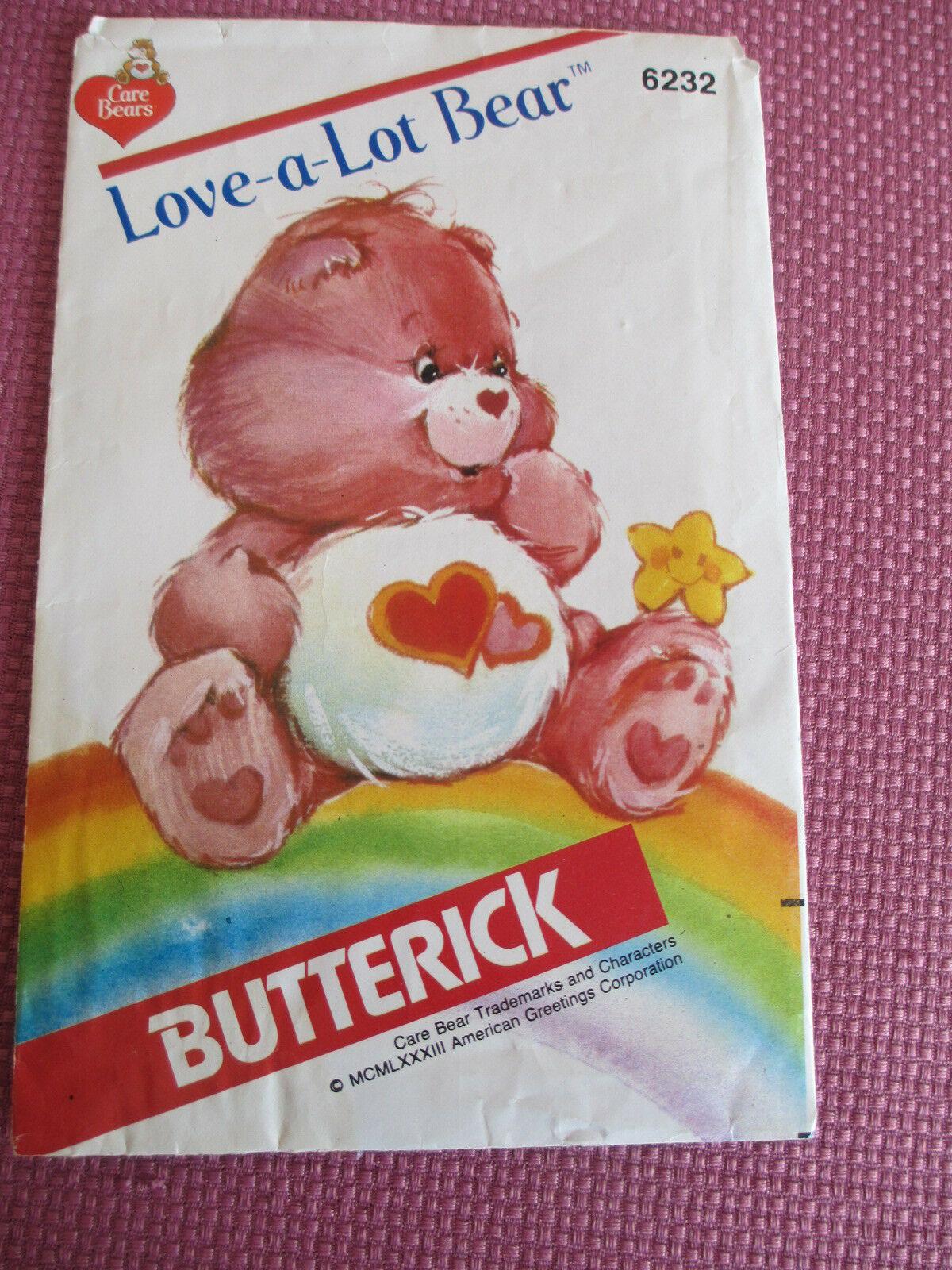 VTG BUTTERICK PATTERN 6232, CARE BEARS LOVE-A-LOT BEAR, 1983, CUT BUT COMPLETE
