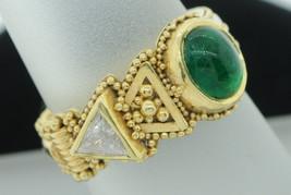 KENT RAIBLE 18K Yellow Gold Granulated Emerald & Diamond Ring (Sz 5.75, ... - $3,485.00