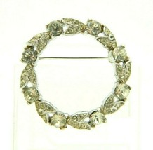 1940's CROWN TRIFARI Patent Pending Clear Rhinestone Wreath Pin Brooch - $98.99