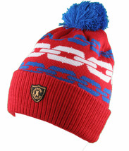 Crooks & Castles Royal Blue Orange Mens Chainlink Pom Beanie Winter Ski Hat