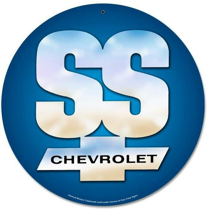 "SS Chevrolet Emblem 14"" Round Metal Sign"