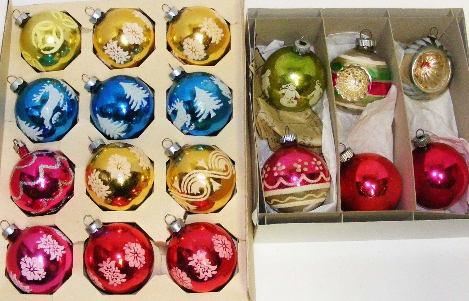 Primary image for 18 Vintage Glass Christmas Ornaments - 2 Boxes