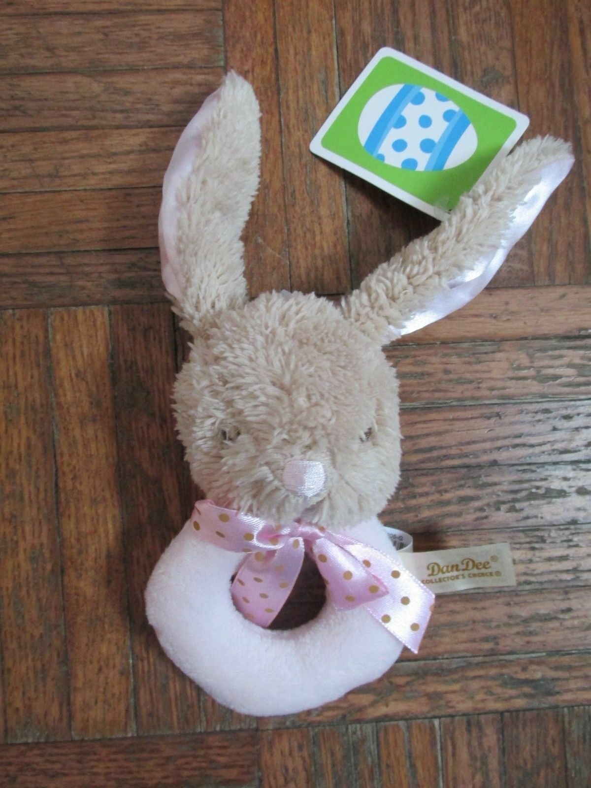 """Dandee My First Easter Bunny Ring Rattle Satin Ears Pink 5"""" NEW HTF Cute - $24.74"""