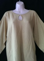 Cable & Gauge  Gold Sparkle Kimono Sleeve Keyhole Chest Knit Top NWT Large - $13.76
