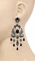 "3.5"" Long Chandelier Earrings, Black Rhinestones Fake Hematite Gothic, Punk - $17.58"