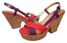 New Kate Spade Penny Cork Wedge Sandals Shoes Red Purple Size 6 - $79.19